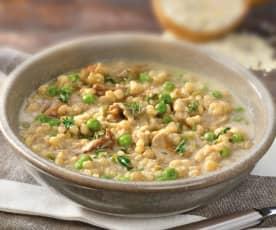 Zuppa di orzo, funghi e piselli