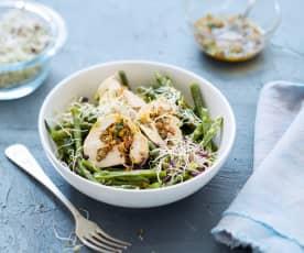 Salade de haricots et poulet farci