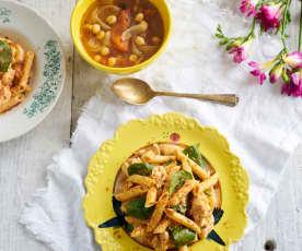 Penne guisado com frango & sopa de tomate e grão