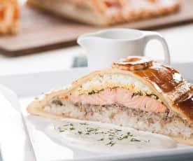 Russian salmon pie (Coulibiac)