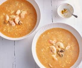Sopa simples de marisco