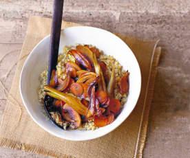Légumes d'hiver au miel et au quinoa