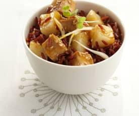 Poêlée de tofu et céleri sucré salé