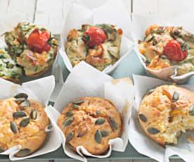 Muffins de calabaza con feta y de espinacas con provolone