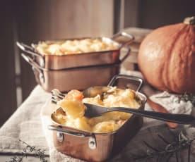 Gratin de potimarron et pommes de terre, béchamel aux herbes et comté