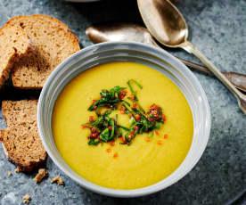 Schnelle Linsen-Apfel-Suppe
