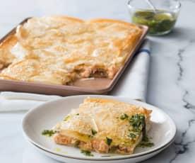 Flaky salmon pie with herb dressing