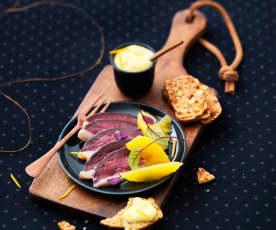 Gravlax de canard aux agrumes