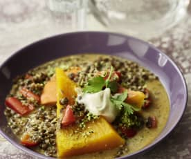 Steamed Pumpkin with Curried Lentils