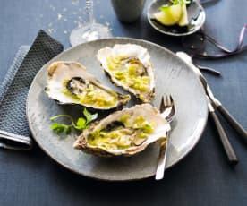 Huîtres farcies à la fondue de poireau