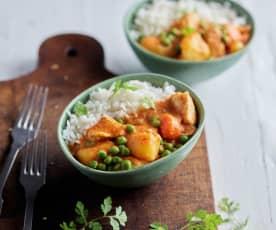 Curry de poulet thaï express et riz basmati