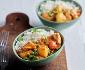 Curry tailandés de pollo con arroz basmati