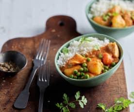 Caril de frango rápido com arroz basmati