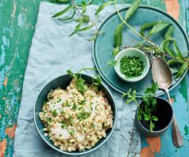 Salada de bacalhau com orzo