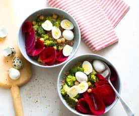Salade de boulgour, betterave et œufs