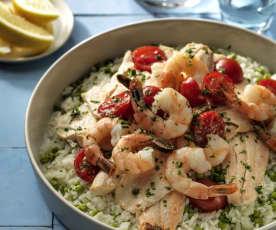 Tris di riso, pesce e verdure