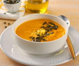 Sopa fría de zanahoria, papaya, pimiento amarillo y limón