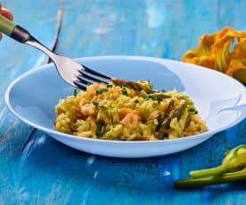 Risotto con gamberetti, asparagi e fiori di zucca