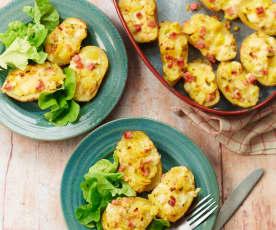 Pommes de terre farcies au fromage et jambon
