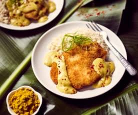 Putenschnitzel mit Curry-Bananen-Sauce