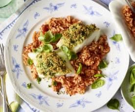 Ryba pod kruszonką z pomidorowym ryżem