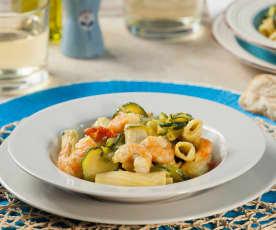 Tortiglioni piccanti risottati zucchine, gamberoni e curcuma