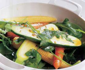 Verduras al vapor con rúcula