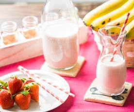 Yogur líquido de plátano y fresa