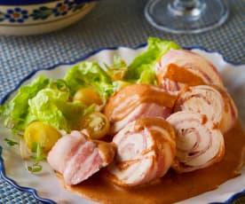 Pollo con crema de chipotle adobado