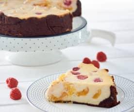 Cheesecake de albaricoques y frambuesas