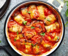 Cannelloni d'aubergine à la tomate