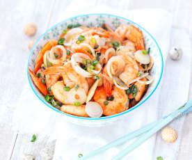 Crevettes sautées aux oignons nouveaux