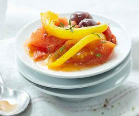Compotée de tomates, poivrons et olives