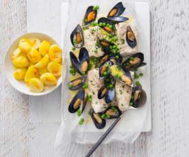 Seafood en papillote with saffron potatoes