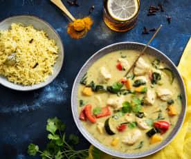 Złoty ryż z indykiem i warzywami