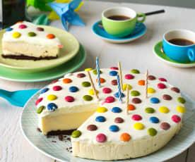 Tarta de cumpleaños de chocolate, vainilla y queso