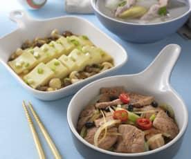 冬瓜肉片湯、鮮菇豆腐&豉椒梅花肉