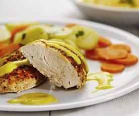 Polévka z kořenové zeleniny a kuře s bramborami, mrkví a smetanovo-hořčičnou omáčkou