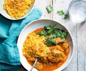 Curry de porc au lait de coco et riz basmati
