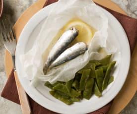 Judías verdes rehogadas y sardinas en papillote