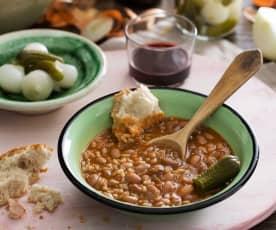 Judías pintas estofadas con arroz y verduras (Cocción lenta)