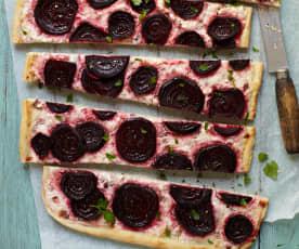 Pizza mit Rote Bete