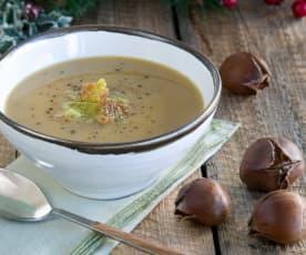 Σούπα με κάστανα και κρουτόνια παρμεζάνας