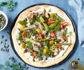 Pizzas maraîchères au fromage frais de brebis