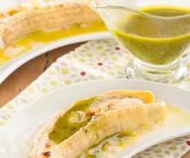 Plátanos asados con queso y mojo verde