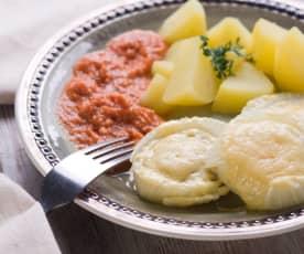Fenchel mit Käsehaube an Tomatensauce