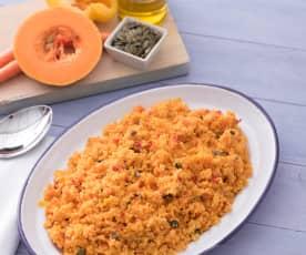 Cuscús con zanahoria, pimientos y pipas de calabaza