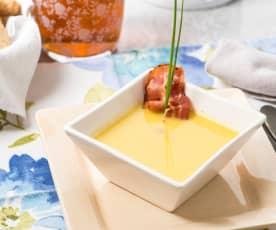 Crema de calabaza con queso de cabra