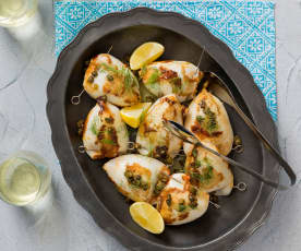 Calamari ripieni with lemon butter and crispy capers