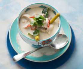 Tom kha gai (Thai chicken coconut soup)